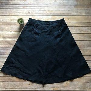 J. CREW Navy Linen A-Line Sailor Button Skirt Sz 6